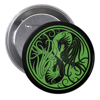 Green and Black Yin Yang Phoenix Pins