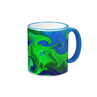 Green and blue abstract mugs