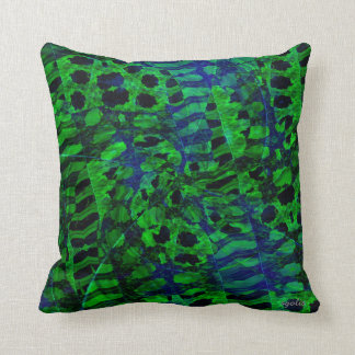 Green and Blue Abstract Throw Pillow