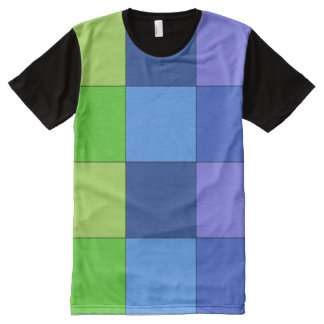 Green and Blue and Purple Checkered T-shirt All-Over Print T-Shirt