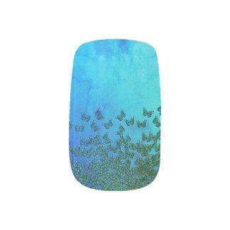Green and blue butterflies pattern nail art