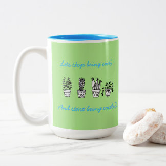 Green and blue cactus mug with pun