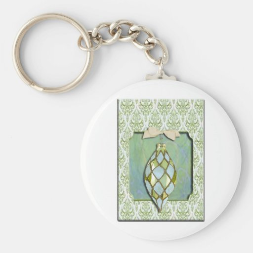 Green and Blue Christmas Tree Ornament Keychain
