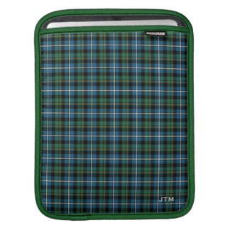 Green and Blue Clan MacRae Hunting Tartan Monogram iPad Sleeve