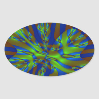 Green and Blue Colorful Abstract Stripes Pattern Oval Sticker