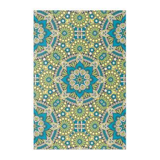 Green and Blue Floral Mandala Acrylic Print