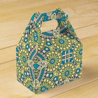 Green and Blue Floral Mandala Favour Box