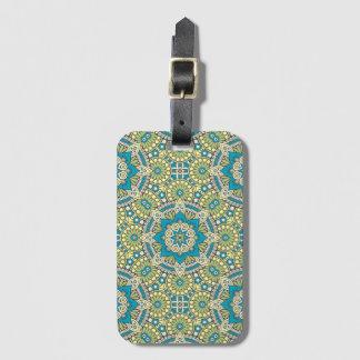 Green and Blue Floral Mandala Luggage Tag