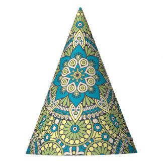 Green and Blue Floral Mandala Party Hat