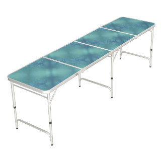 Green And Blue Floral Pattern Beer Pong Table