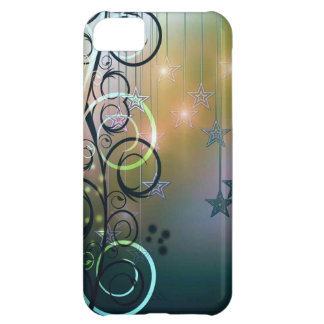 Green and blue floral swirls with hanging stars iPhone 5C case