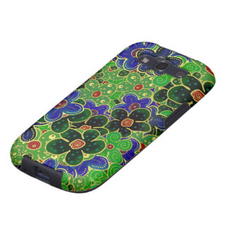 green and blue flowers with gold trim galaxy SIII covers