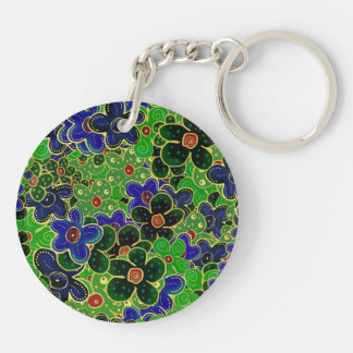 green and blue flowers with gold trim Double-Sided round acrylic key ring