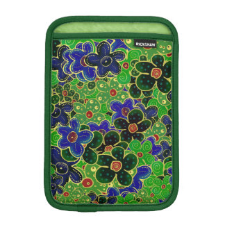 green and blue flowers with gold trim iPad mini sleeve
