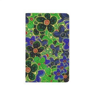 green and blue flowers with gold trim journals