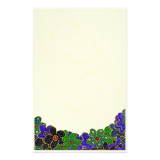 green and blue flowers with gold trim stationary stationery design