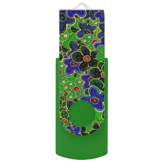 green and blue flowers with gold trim swivel USB 2.0 flash drive