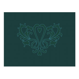 Green And Blue Heart Damask Postcards