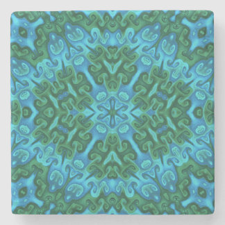Green and Blue Horns and Swirls Stone Coaster