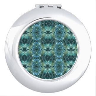 Green and Blue Jewel Toned Mosaic Compact Mirrors