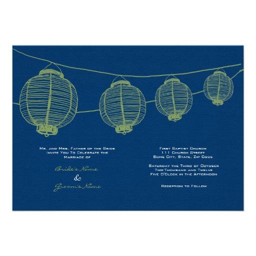 Green and Blue Lanterns Wedding Invitation