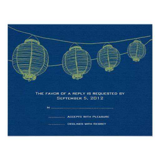 Green and Blue Lanterns Wedding RSVP Announcement