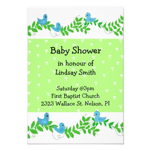 green and blue nature baby shower invitation 9 cm x 13 cm invitation