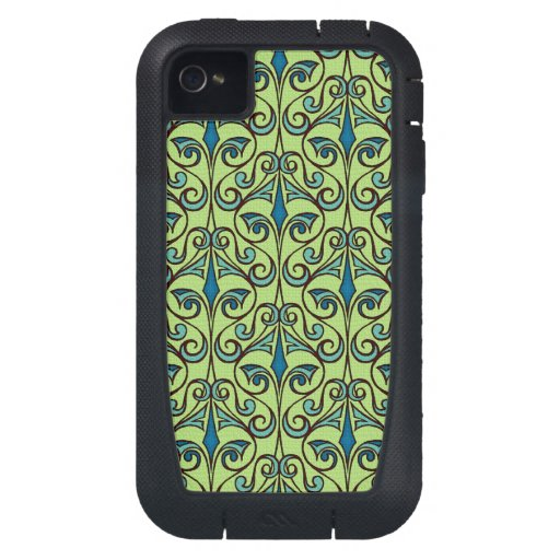 Green and Blue Ornate Damask iPhone4 Case