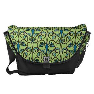 Green and Blue Ornate Damask Commuter Bag