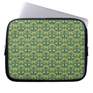 Green and Blue Ornate Damask Computer Sleeves