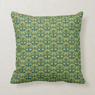 Green and Blue Ornate Damask Throw Cushion