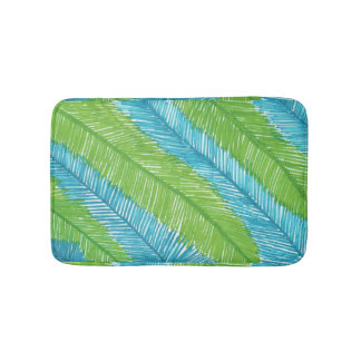 Green and Blue Palm Leaves Pattern Bath Mat