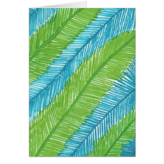 Green and Blue Palm Leaves Pattern Card