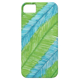 Green and Blue Palm Leaves Pattern iPhone 5 Cases