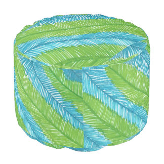 Green and Blue Palm Leaves Pattern Pouf