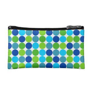 Green and Blue Polka Dot Cosmetic Bag
