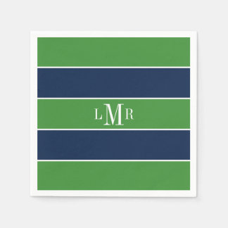 Green and Blue Stripes and Monogram Disposable Serviettes