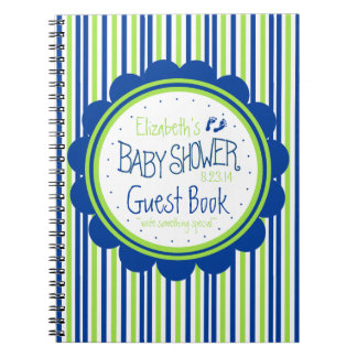 Green and Blue Stripes Baby Shower Guest Book- Notebooks