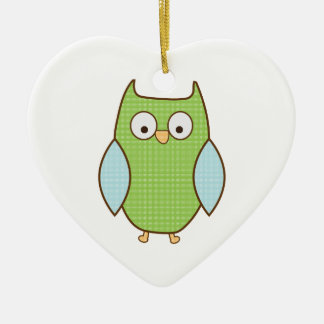 green and blue textured owl christmas tree ornament