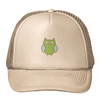 green and blue textured owl mesh hat
