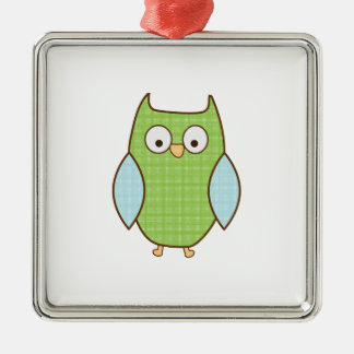 green and blue textured owl ornament