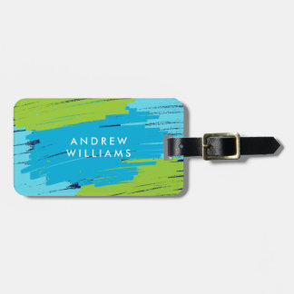 Green and Blue Vibrant Modern Bold Strokes Luggage Tag