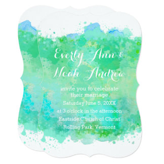 Green and Blue Watercolor Wedding Card