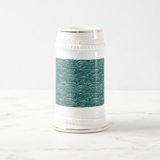 Green and blue waves pattern. Sea texture. Beer Stein