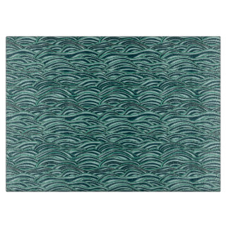 Green and blue waves pattern. Sea texture. Cutting Board