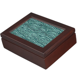 Green and blue waves pattern. Sea texture. Keepsake Box
