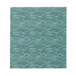 Green and blue waves pattern. Sea texture. Notepad