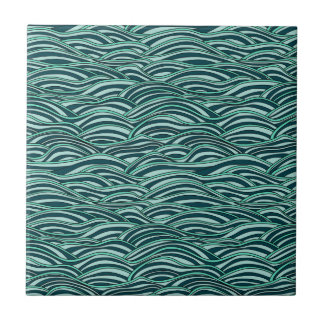 Green and blue waves pattern. Sea texture. Small Square Tile