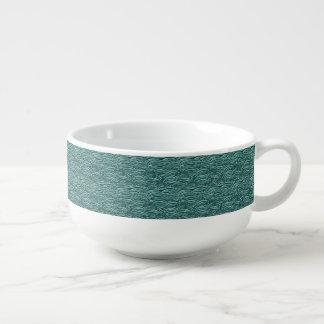 Green and blue waves pattern. Sea texture. Soup Mug