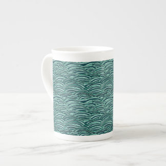 Green and blue waves pattern. Sea texture. Tea Cup